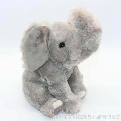 工厂定制仿真动物可爱灰色大象公仔毛绒玩具坐姿小象玩偶早教娃娃