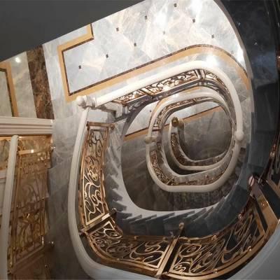 江苏南京铜艺楼梯扶手价格 艺术镂空定制铜艺楼梯护栏