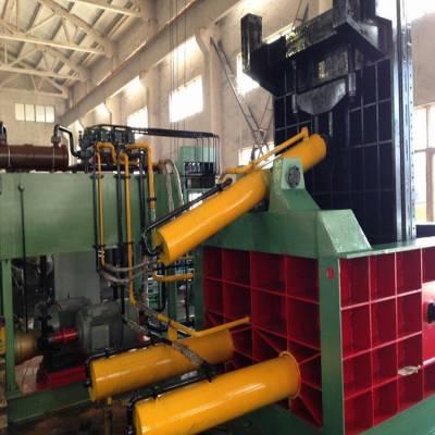 卧式液压废铁销压块机 易拉罐压块机 125吨卧式废金属压块机