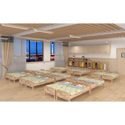 幼儿园实木家具宝宝休息区域儿童寝室单人床绿森堡厂家定做