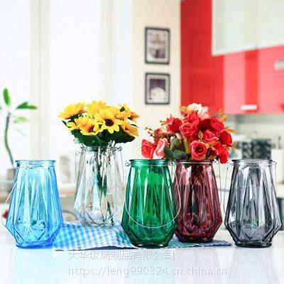 批发现代简约几何玻璃花瓶 宏华彩色水培插花瓶酒店样板间装饰摆件