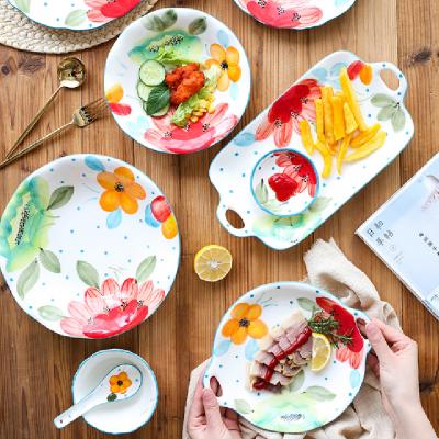 日式小清新太阳花釉下彩陶瓷餐具套装 家用水果盘菜盘 吃饭碗汤碗