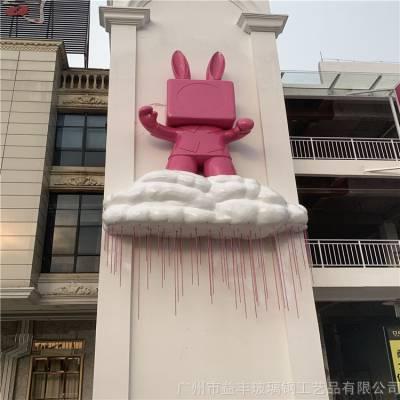 广州卡通吉祥物雕塑 玻璃钢卡通兔子雕塑