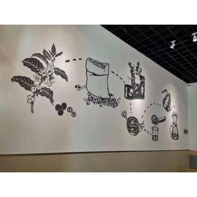 合浦咖啡店墙画墙体彩绘手绘墙