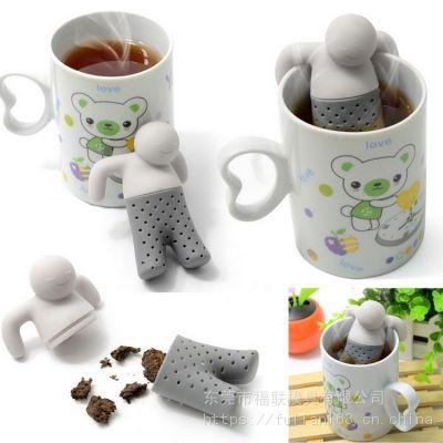 食品级 Mr.Tea茶先生 泡澡小人茶漏 硅胶 硅胶泡茶器 创意茶漏