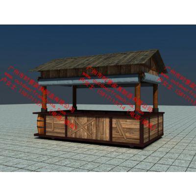 远古风 白垩纪侏罗纪主题乐园售货亭零售花车 猿人原始部落售货亭
