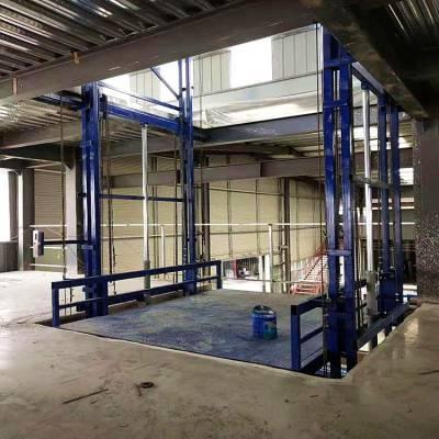 钢平台专用2吨导轨式液压升降机 跃层车间升降平台