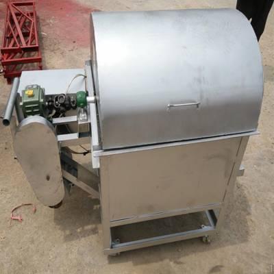 不锈钢花生板栗炒籽机 小型50斤菜籽瓜子炒货机 煤气加厚芝麻滚筒炒锅多少钱一台