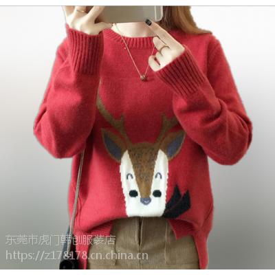 哪里有一手货源批发秋冬女装毛衣韩版时尚宽松大版女士毛衣镂空针织上衣低价批发