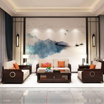 厂家直销新中式实木沙发组合 轻奢别墅客厅春夏两用沙发复古家具
