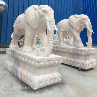 加工石雕晚霞红大象 镇宅辟邪吉祥如意石象一对 酒店商场景观装饰雕塑