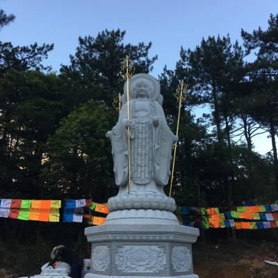 石雕地藏王 寺庙供奉地藏菩萨 青石地藏王雕像