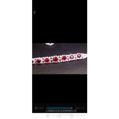 豪华镶嵌红宝石钻石K金手链高级定制裸石批发
