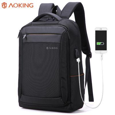 奥王AOKING带USB充电双肩包时尚商务背包笔记本电脑包男 一件代发