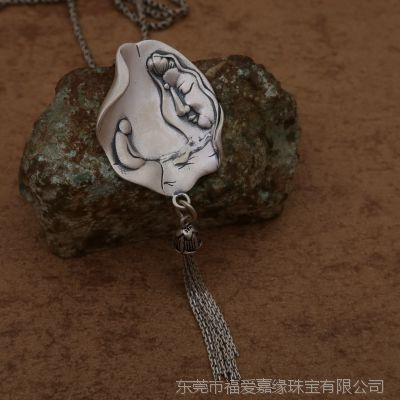 足银泰990项链佛家观音流苏保平安纯银吊坠车挂件 东莞厂家小批量加工生产