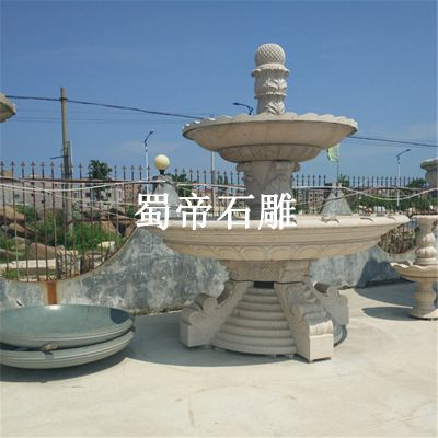 大型石雕喷泉 花岗岩双层水钵别墅户外景观喷泉流水摆件