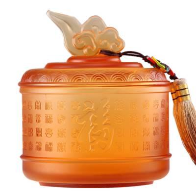 琉璃如意茶叶罐摆件 茶具工艺摆件定制 家居礼品琉璃工艺品 琉璃工艺品定制logo
