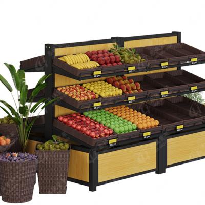 水果货架、展示架、果蔬架、超市菜架、堆头木质蔬菜架、水果架子、水果店货架-惠诚货架