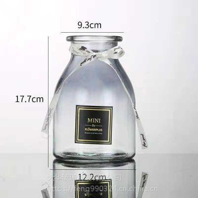 爆款欧式ins风渐变色玻璃花瓶 透明 宏华水培插花瓶 创意家居装饰摆件