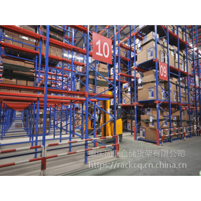 四层1-2T/货位高位贯通式固联仓库货架,型号1.2*1.5*7.5m驶入重型货架,市场价格