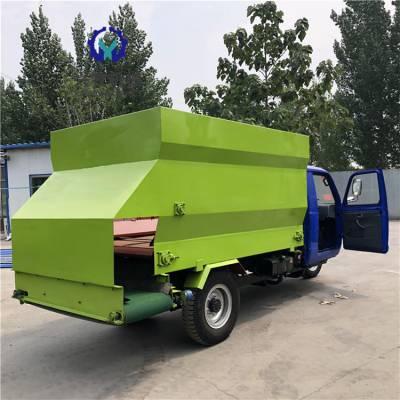 新疆塔城喂牛车厂家 液压马达饲料撒料车 双边出料投料车