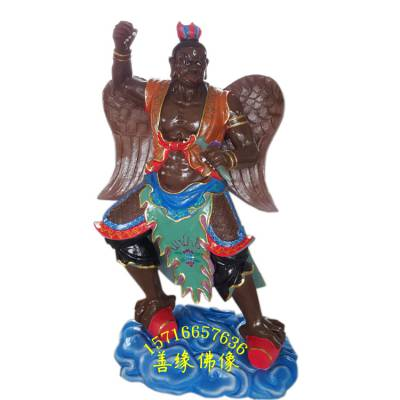 雷狮雷神爷神像图片 雷震子神像彩绘 河南雕塑供应道教雷神像