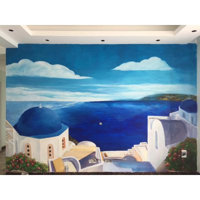 墙画墙体彩绘手绘背景墙产品彩绘品牌设计机械设计