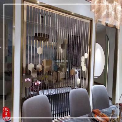 佛山定制不锈钢镂空屏风 园林装饰定制新中式金属屏风隔断