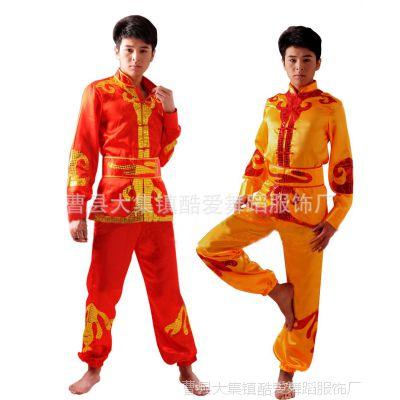 批发少数民族蒙古族演出表演舞蹈舞台服装男式腰鼓服装秧歌舞服饰