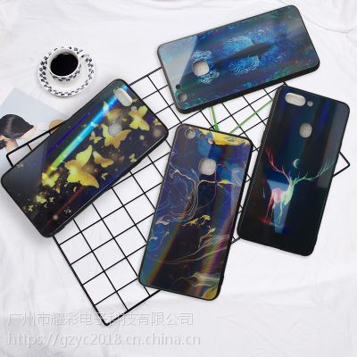 新款iPhone X夜光手机壳 彩绘钢化玻璃保护套 X20plus夜光防磨壳