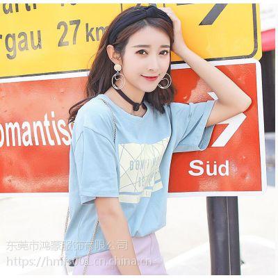汕头服装厂家女装短袖哪里有货便宜几元的T恤的市场直销女装短袖T恤库存尾货棉