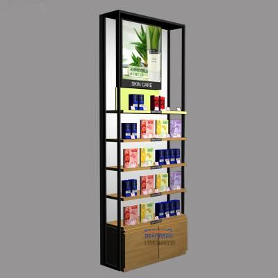 化妆品展柜定制铁木结合母婴货柜商超货架化妆品店美容产品展示柜
