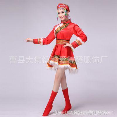 新款蒙古族演出服女装内蒙古舞蹈服装蒙古袍成人少数民族表演服裙