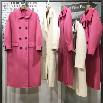 网红爆款糖果色双面呢大衣 第五朵双面呢大衣 广州健凡服饰品牌折扣女装批发走份