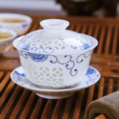 玉瓷三才盖碗茶杯陶瓷功夫茶具泡茶碗 景德镇陶瓷茶具茶碗 定制批发