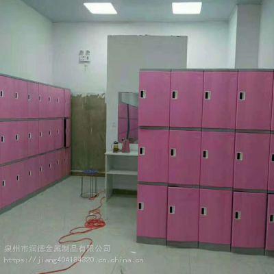 abs塑料员工更衣柜浴室健身房彩色智能储物柜防水木纹塑料更衣柜