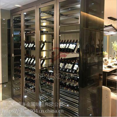 不锈钢酒柜 恒温不锈钢酒柜 不锈钢红酒架 装饰柜衣柜 展示柜定制