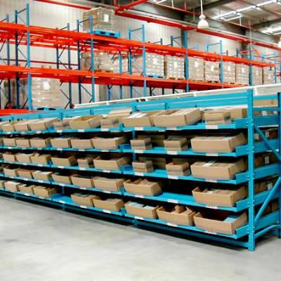 流利式货架厂 生产定制 济宁精益管流利条 日照仓储侧滑式货架 威海物流专用