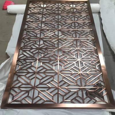 售楼部古铜不锈钢屏风隔断加工 管焊不锈钢花格 金属屏风定制厂家