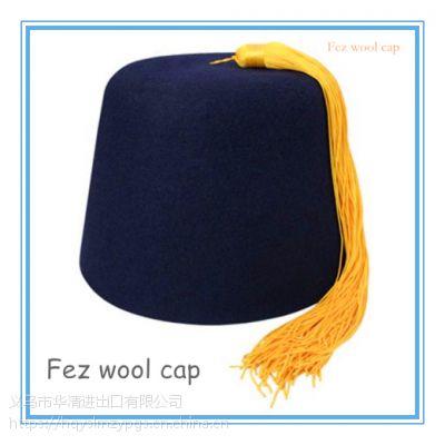 土耳其金色流苏黑色羊毛帽Morocco green wool Cap 黑色菲斯羊毛帽