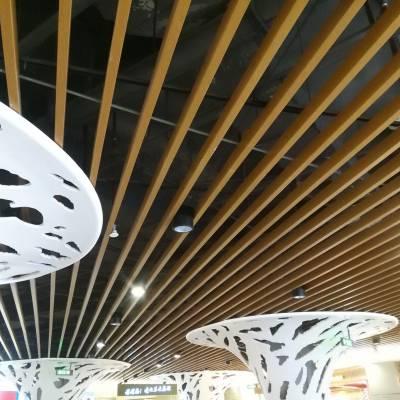 厦门商场木纹铝方通吊顶 30X100条形铝格栅