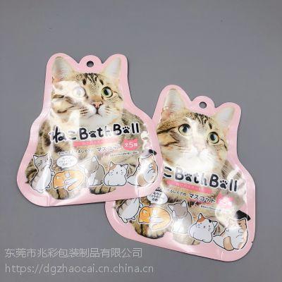 宠物食品包装袋 可爱猫形状异形铝箔袋定做厂家 狗粮饲料自立自封袋