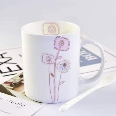 批发陶瓷杯 简约骨瓷直身家用马克办公奶茶水杯促销礼品广告定制