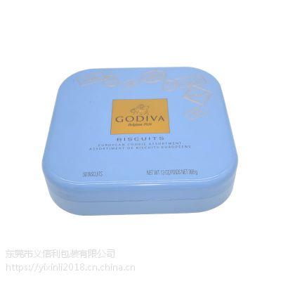 义信利f220正方形手工曲奇饼干铁盒 定制蛋卷糖果铁罐 精美果冻食品包装盒