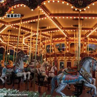 露天儿童游乐设备--经典旋转木马公园顶梁柱童星厂家直销