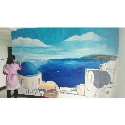 北海墙画墙体彩绘手绘背景墙产品彩绘