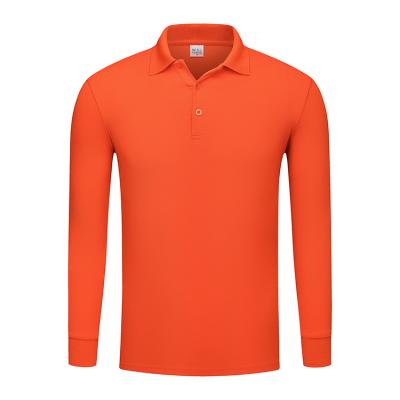 贵州长袖广告衫,翻领长袖春秋季POLO衫订做批发,ZHIT-501201橙色人造棉加厚珠地布240克