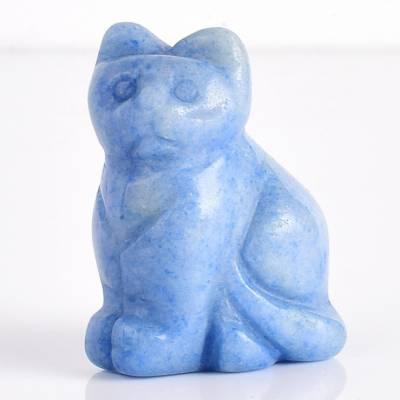 天然玉石纯手工雕刻蓝东陵小猫动物摆件厂家直销纯手雕宝石工艺品