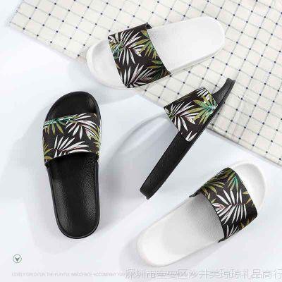 2018新款室内外拖鞋女夏度假休闲防滑平底鞋布面绿色叶子拖鞋新款