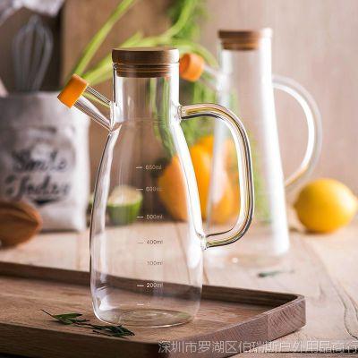 厨房家大号高硼硅玻璃油壶酱油麻油食用油瓶醋瓶酱油瓶防侧漏油壶